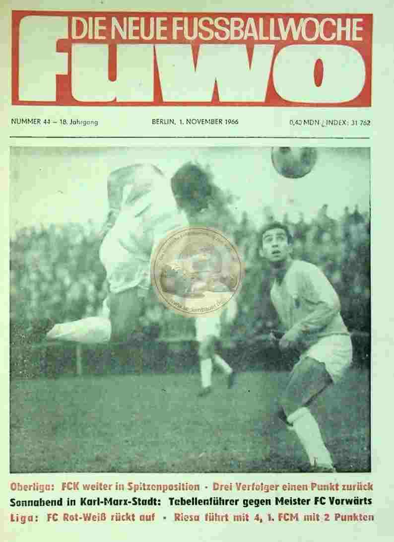 1966 November 1. Die neue Fussballwoche fuwo Nr. 44