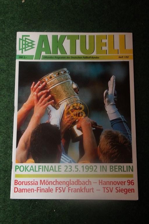 Original Programm vom DFB Pokalfinale 1992 zwischen Hannover 96 und Borussia Mönchengladbach.