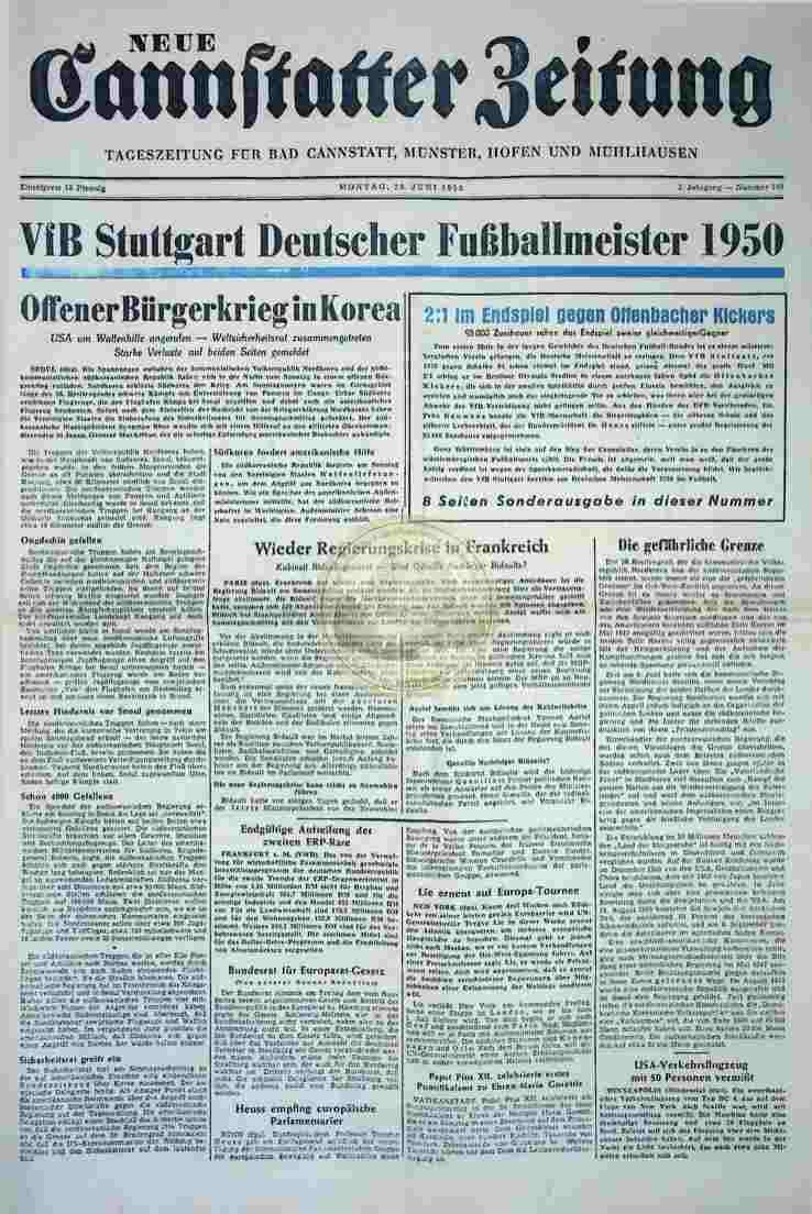 1950 Juni 26. Neue Cannstatter Zeitung 2. Exemplar