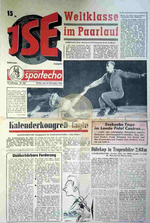 1962 November 14. Sportecho JSE Ausgabe Nr. 183