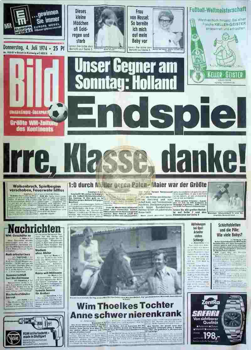 1974 Juli 4. Bildzeitung Seite