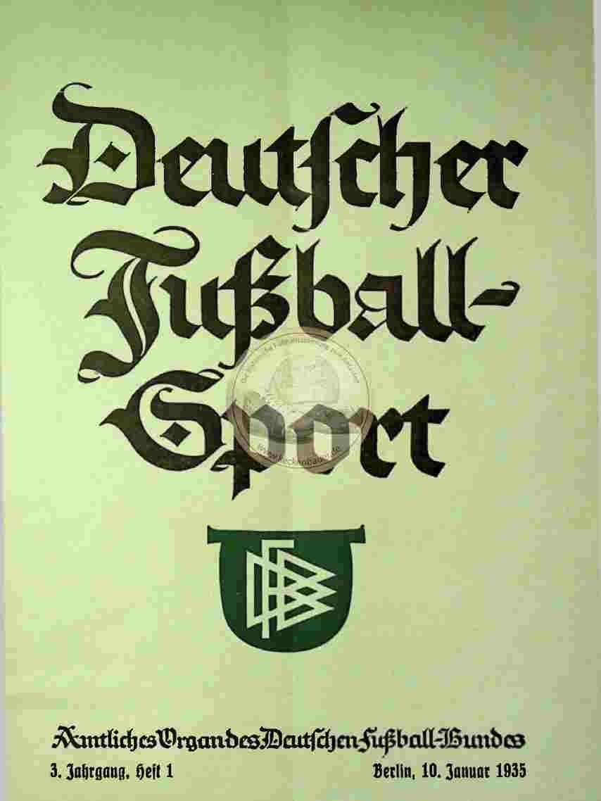 1935 Januar 10. Deutscher Fußball Sport Jahrg.3 Heft 1