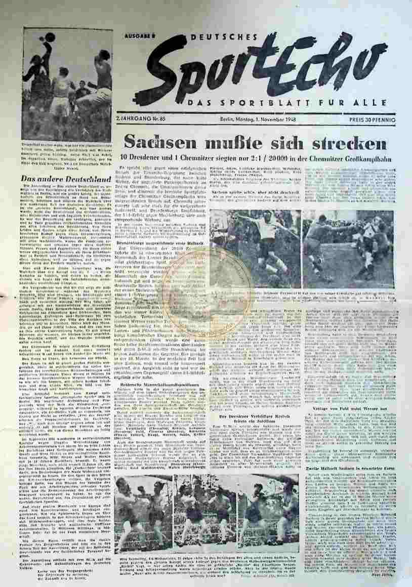 1948 November 1. Sportecho Nr. 85
