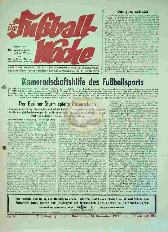 1943 Dezember 14. Die Fußball-Woche Nr. 32