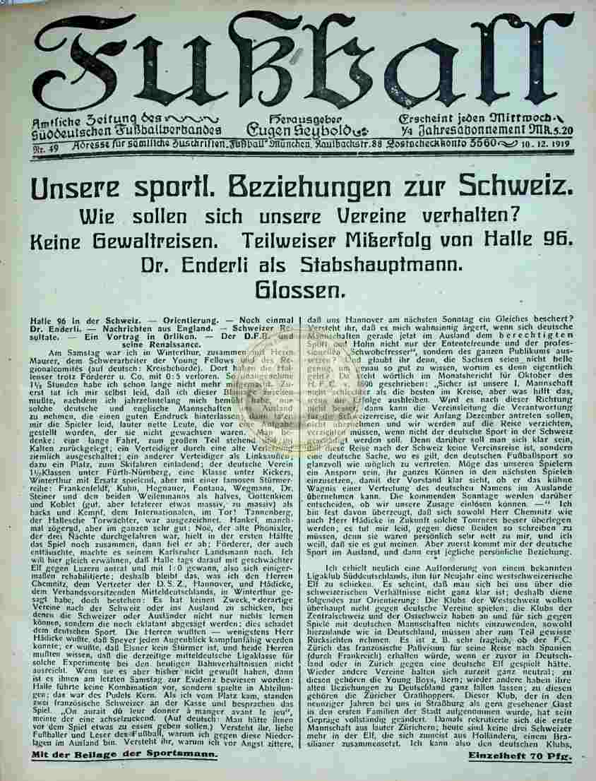 1919 Dezember 10. Fußball Nr.49