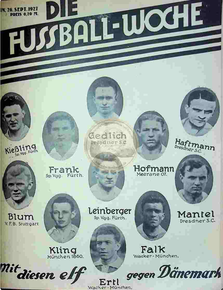 1927 September 26. Fussball-Woche Nr. 77