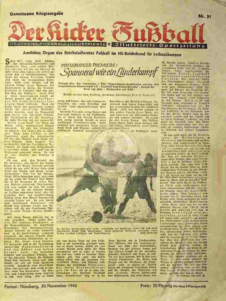 1943 November 30. Gemeinsame Kriegsausgabe Kicker Fußball Nr.31