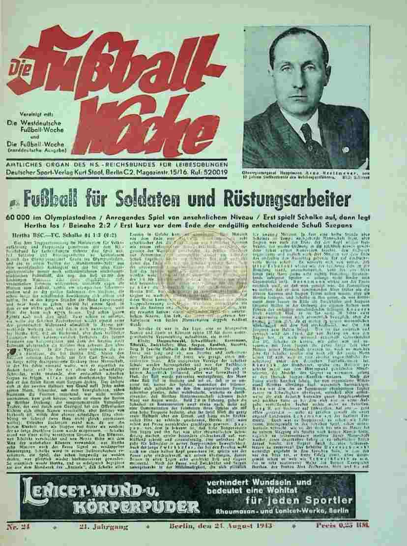 1943 August 24. Die Fußball Woche Nr. 24