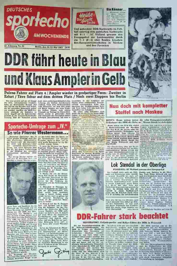 1963 Mai 24./25. Sportecho am Wochenende Nr. 95