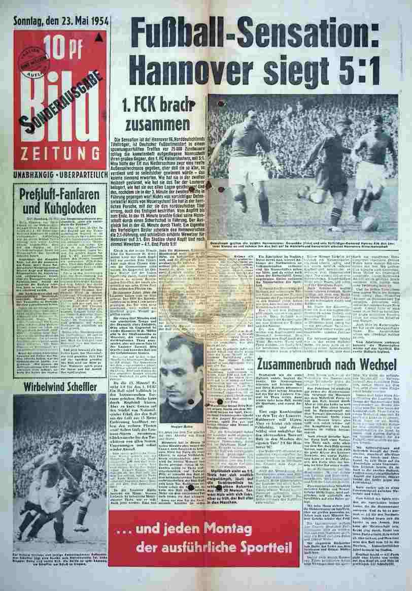 1954 Mai 23. Bildzeitung Sonderausgabe