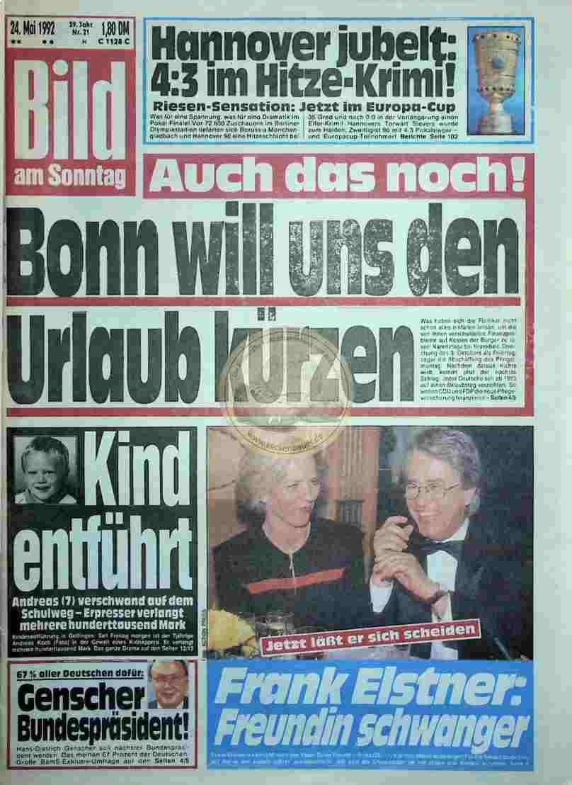 1992 Mai 24. Bild am Sonntag (Auszug)