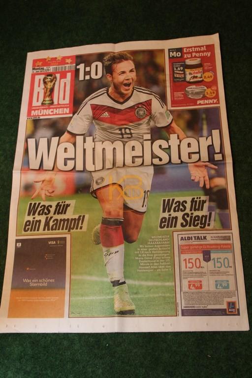 Bild Zeitung am Tag nach dem Gewinn der Weltmeisterschaft 2014.
