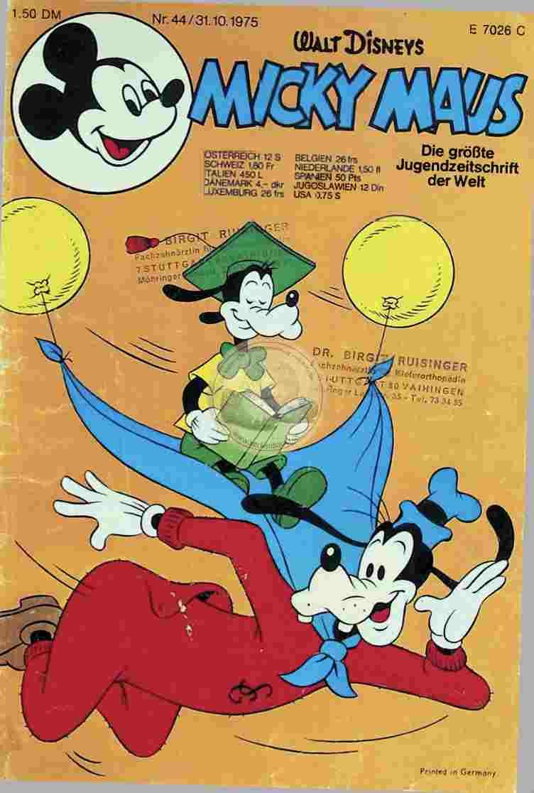 1975 Oktober 31. Mickey Maus (Hannover96)Comic
