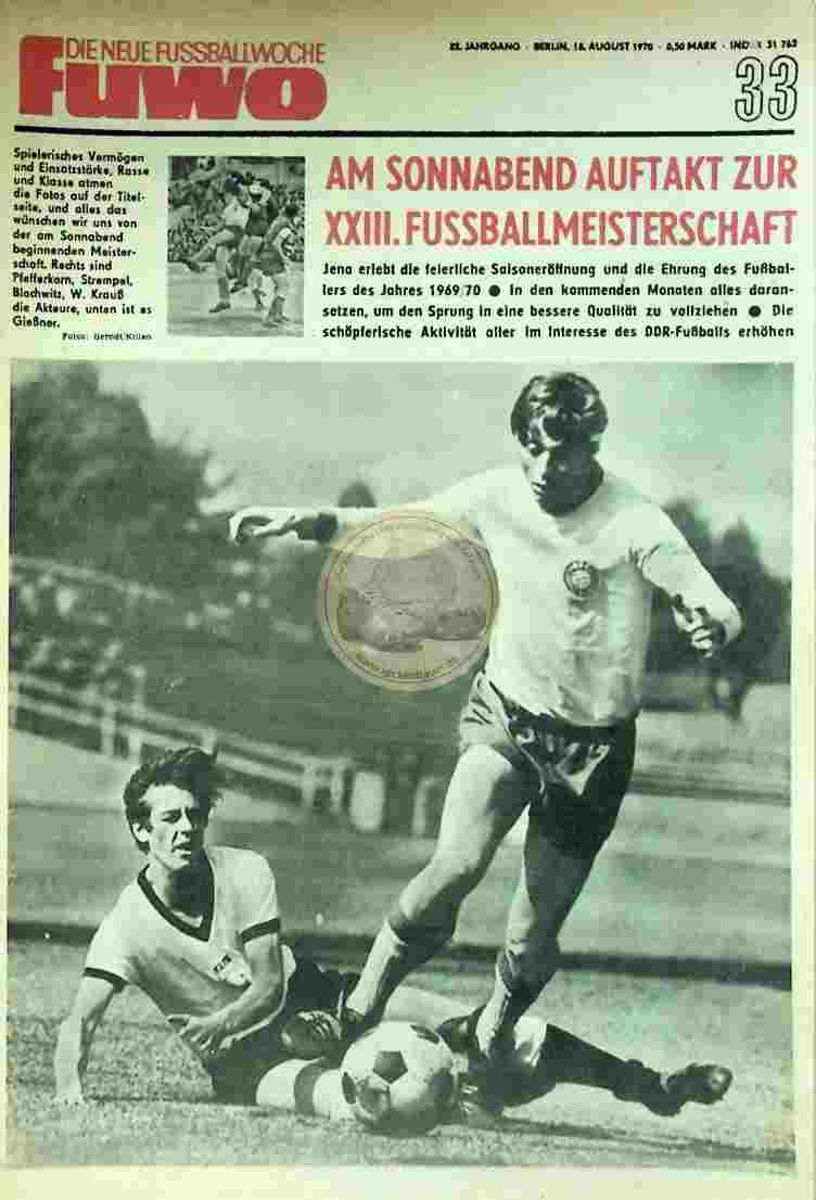 1970 August 18. Die neue Fussballwoche fuwo Nr. 33