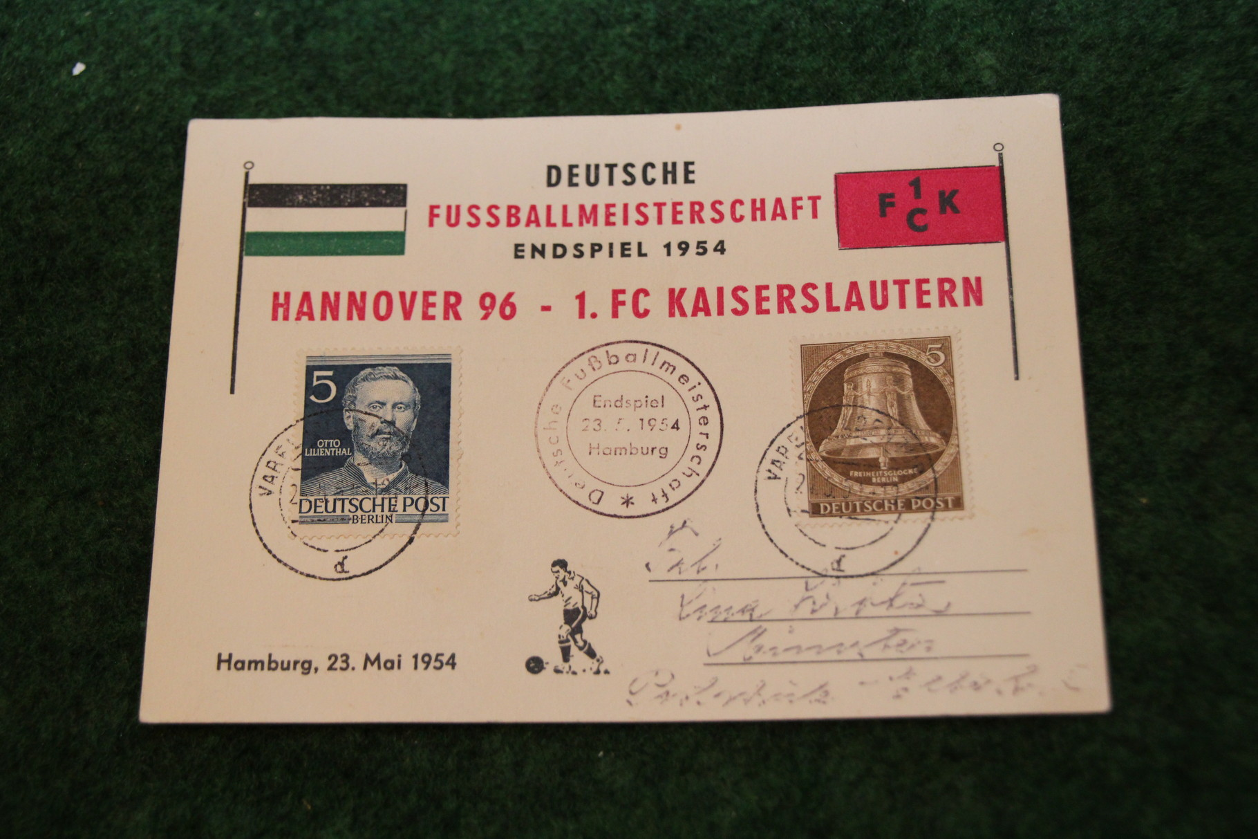 Postkarte zur Deutschen Meisterschaft 1954 von Hannover 96.