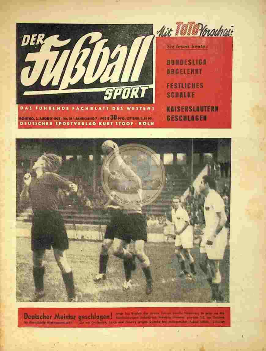 1954 August 2. Der Fußball Sport Nr.31