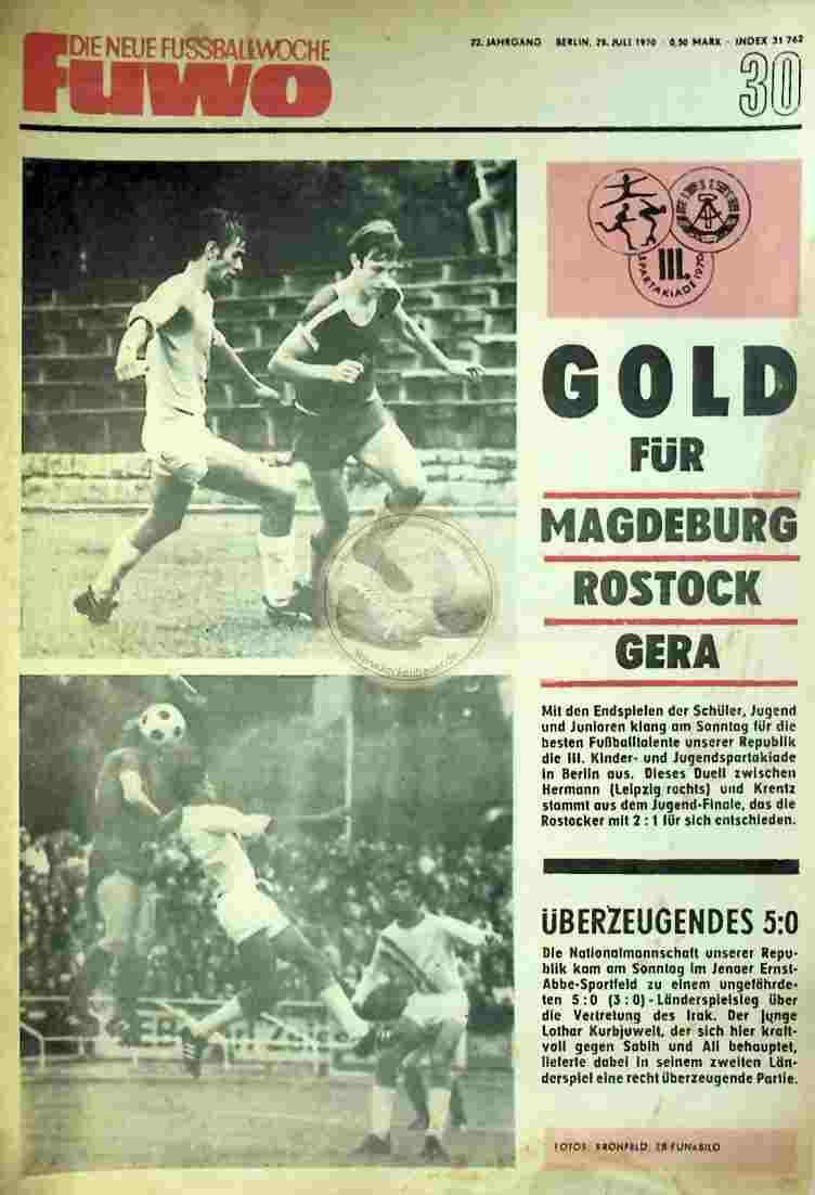 1970 Juli 28. Die neue Fussballwoche fuwo Nr. 30