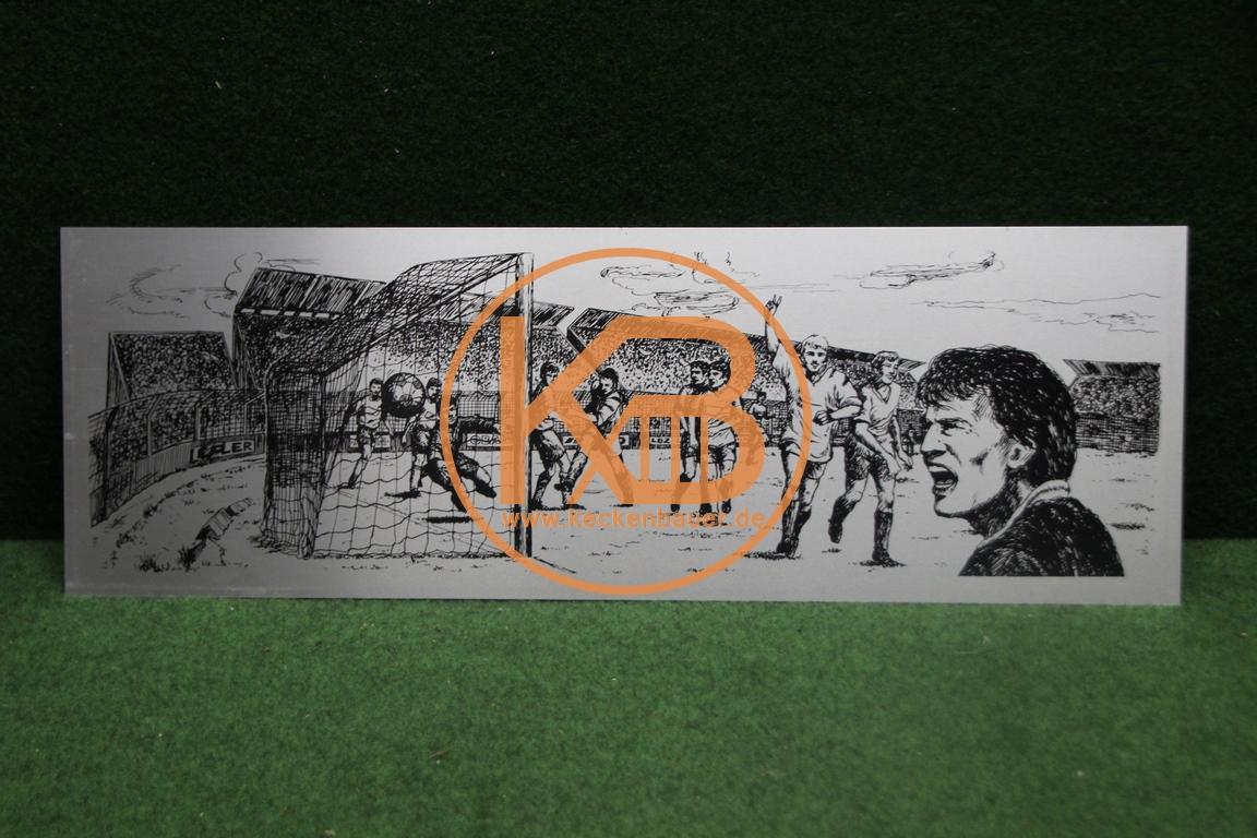 Wandbild auf Alu mit einer Fußballszene