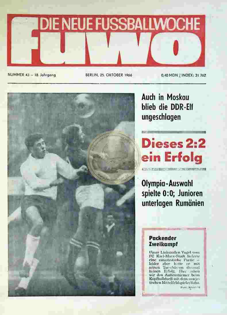 1966 Oktober 25. Die neue Fussballwoche FuWo Nr. 43