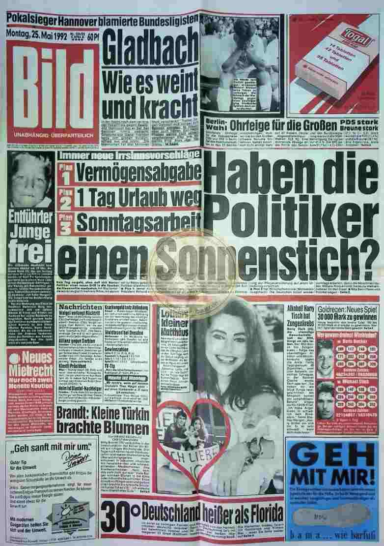 1992 Mai 25. Bildzeitung