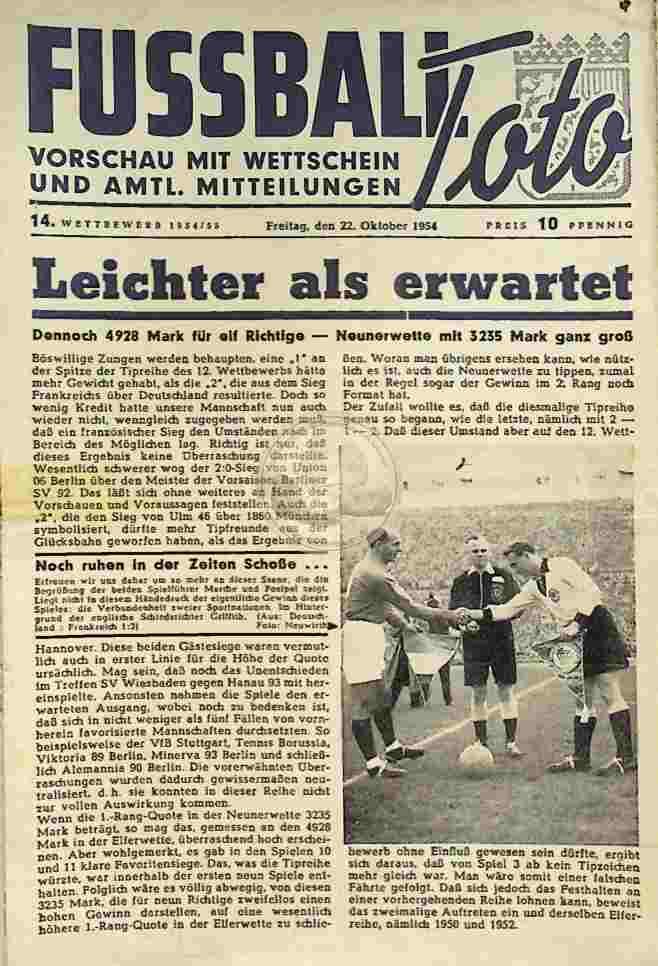 1954 Oktober 22. Fussball Toto