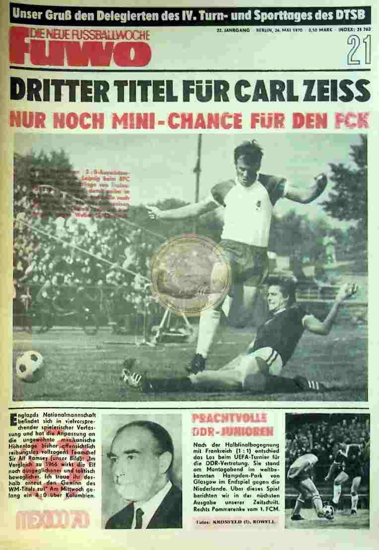 1970 Mai 26. Die neue Fussballwoche fuwo Nr. 21
