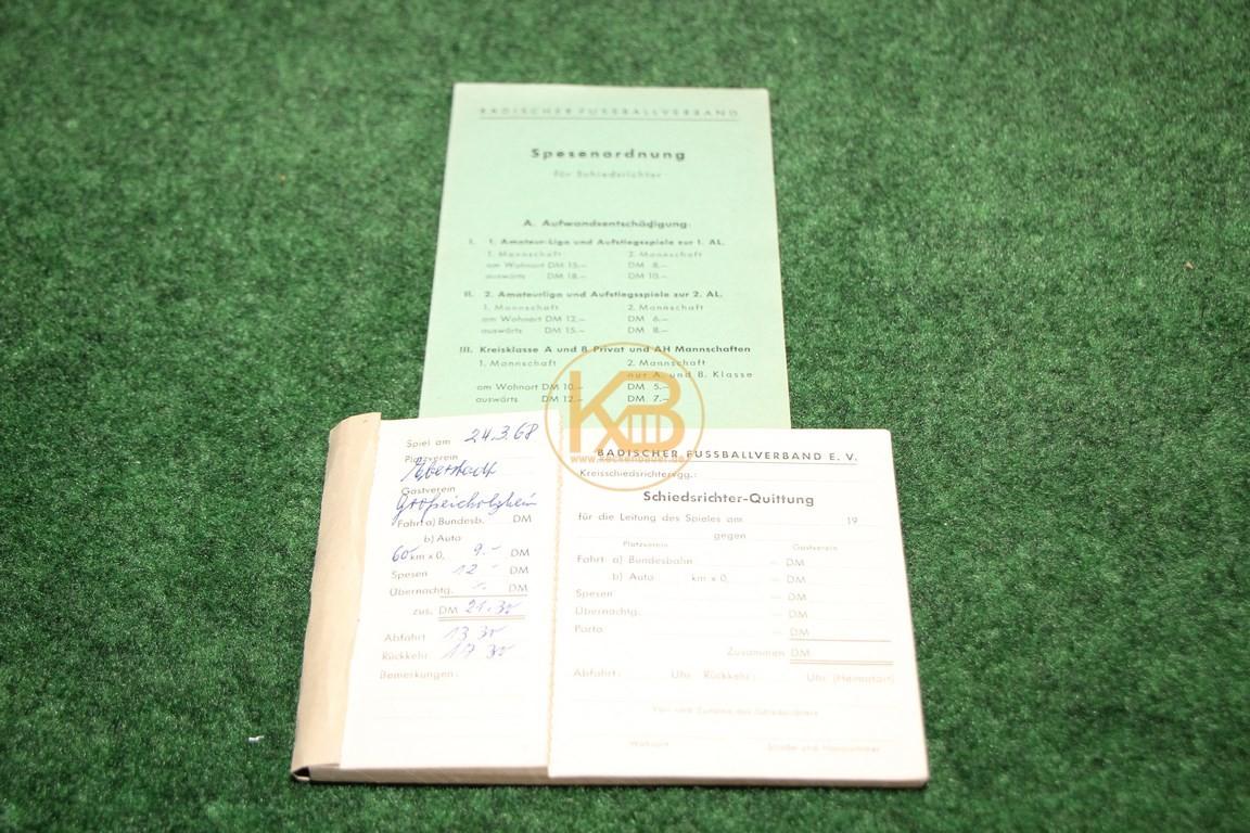 Schiedsrichter Quittungsblock und der dazugehörigen Spesenordnung aus dem Jahr 1968