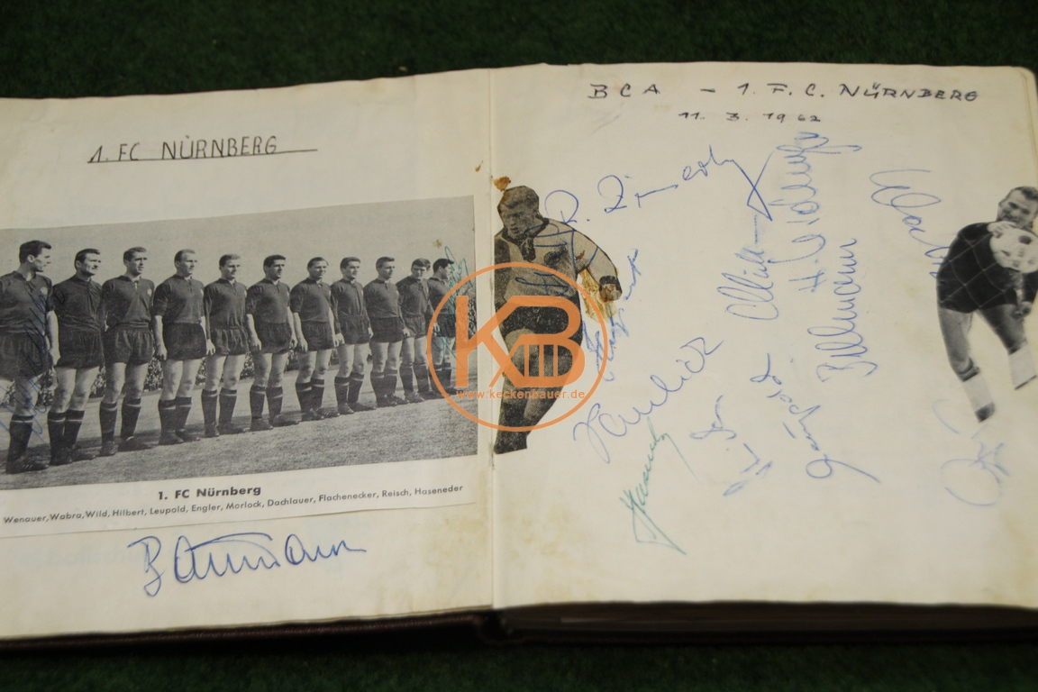 Original Autogramme vom 1. FC Nürnberg vom 11.03.1962