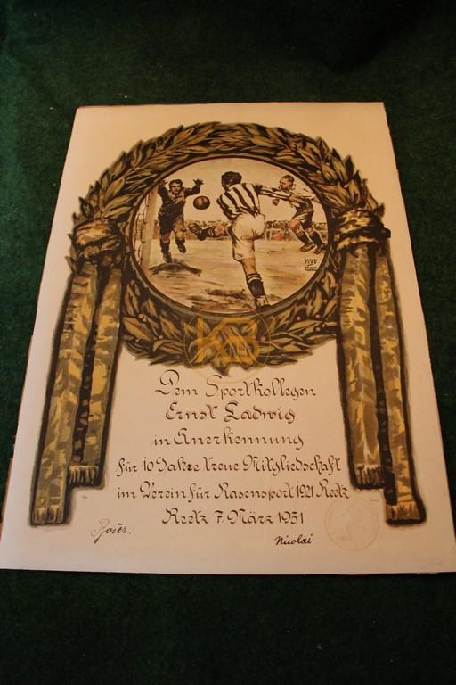Lithographie von Carlo Tips 1931 des VfR Reetz 1921.