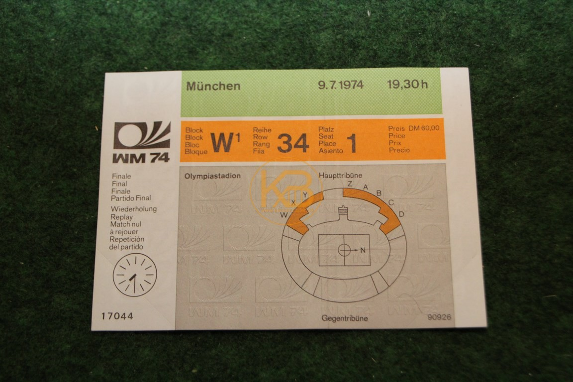 Eintrittskarte passend zu den Druckplatten der WM 1974 für ein damals mögliches Wiederholungsspiel