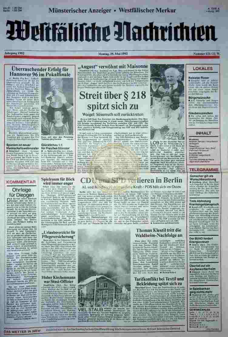 1992 Mai 25. Westfälische Nachrichten (Auszug)