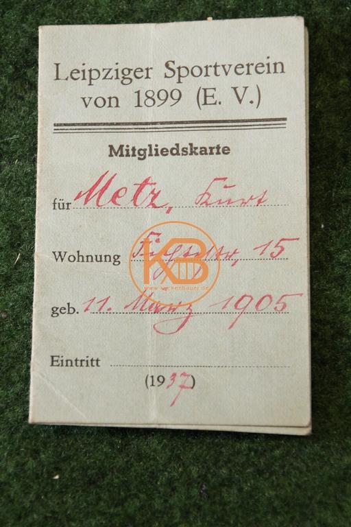 Mitgliedskarte vom Leipziger Sportverein von 1899 e.V. aus dem Jahr 1937 1/2