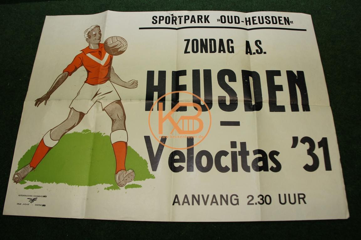 Spielankündigungsplakat aus den 1960ern. Van Heusden gegen Velocitas ´31 Niederlande.