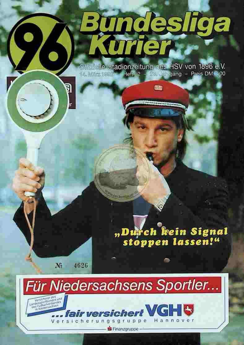 1992 März 14. Bundesliga Kurier Hannover 96