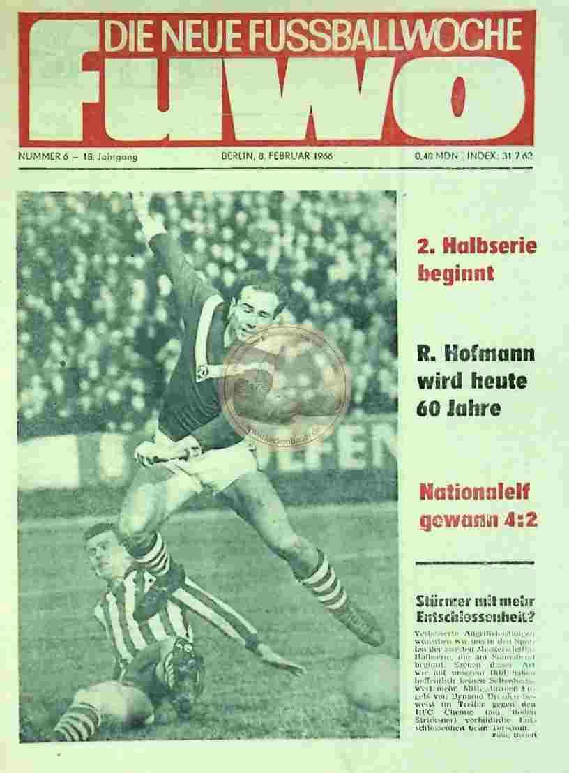 1966 Februar 8. Die neue Fussballwoche fuwo Nr. 6