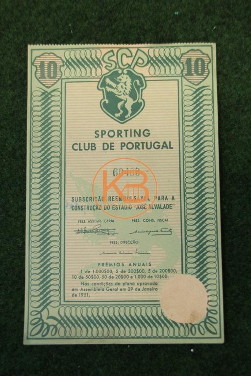 Premium-Darlehen 10 Escudos 1951 für den Bau des Fußballstadions Jose Alvaladevon Sporting Lissabon.