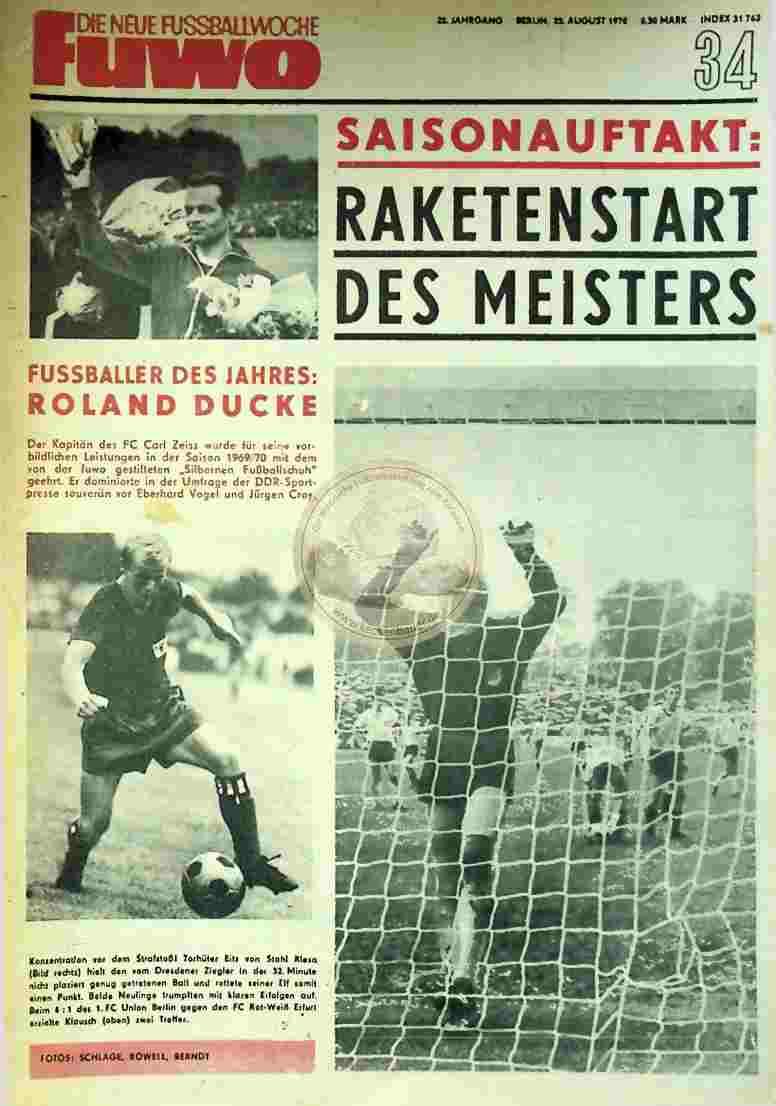 1970 August 25. Die neue Fussballwoche fuwo Nr. 34
