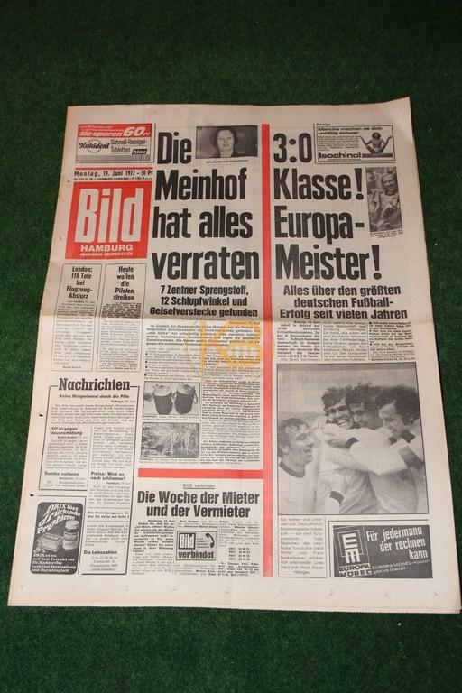 Bild-Zeitung am Tag nach dem Gewinn der Europameisterschaft 1972.
