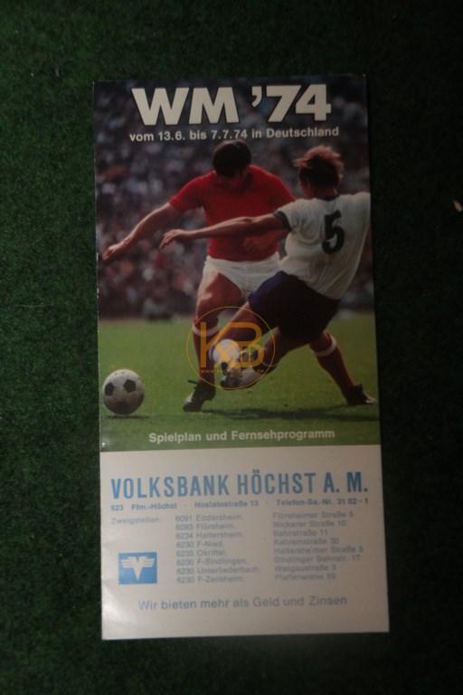 Weltmeisterschaft 1974 Spielplan und Fernsehprogramm von der Volksbank Höchst a.M.
