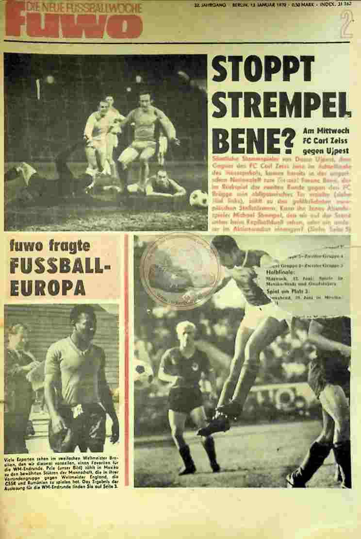 1970 Januar 13. Die neue Fussballwoche fuwo Nr. 2