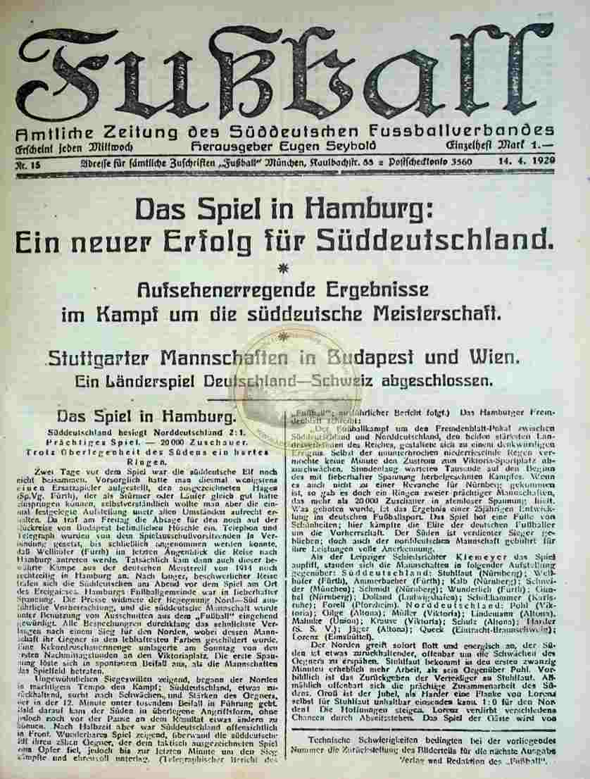 1920 April 14. Fußball Nr.15