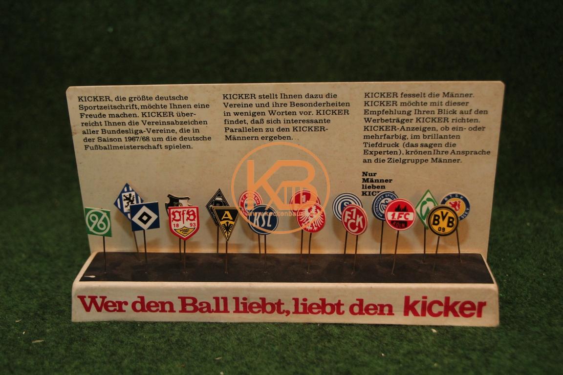 Alte Kickerstecktabelle aus der Saison 1967/68.
