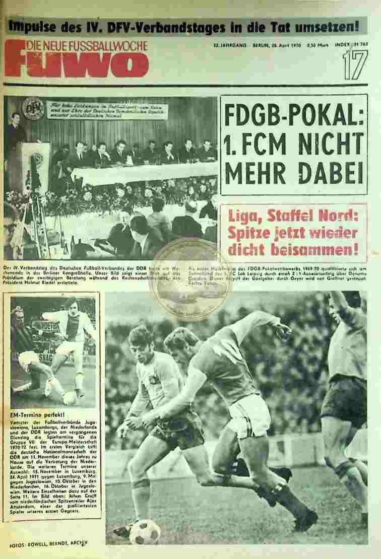 1970 April 28. Die neue Fussballwoche fuwo Nr. 17