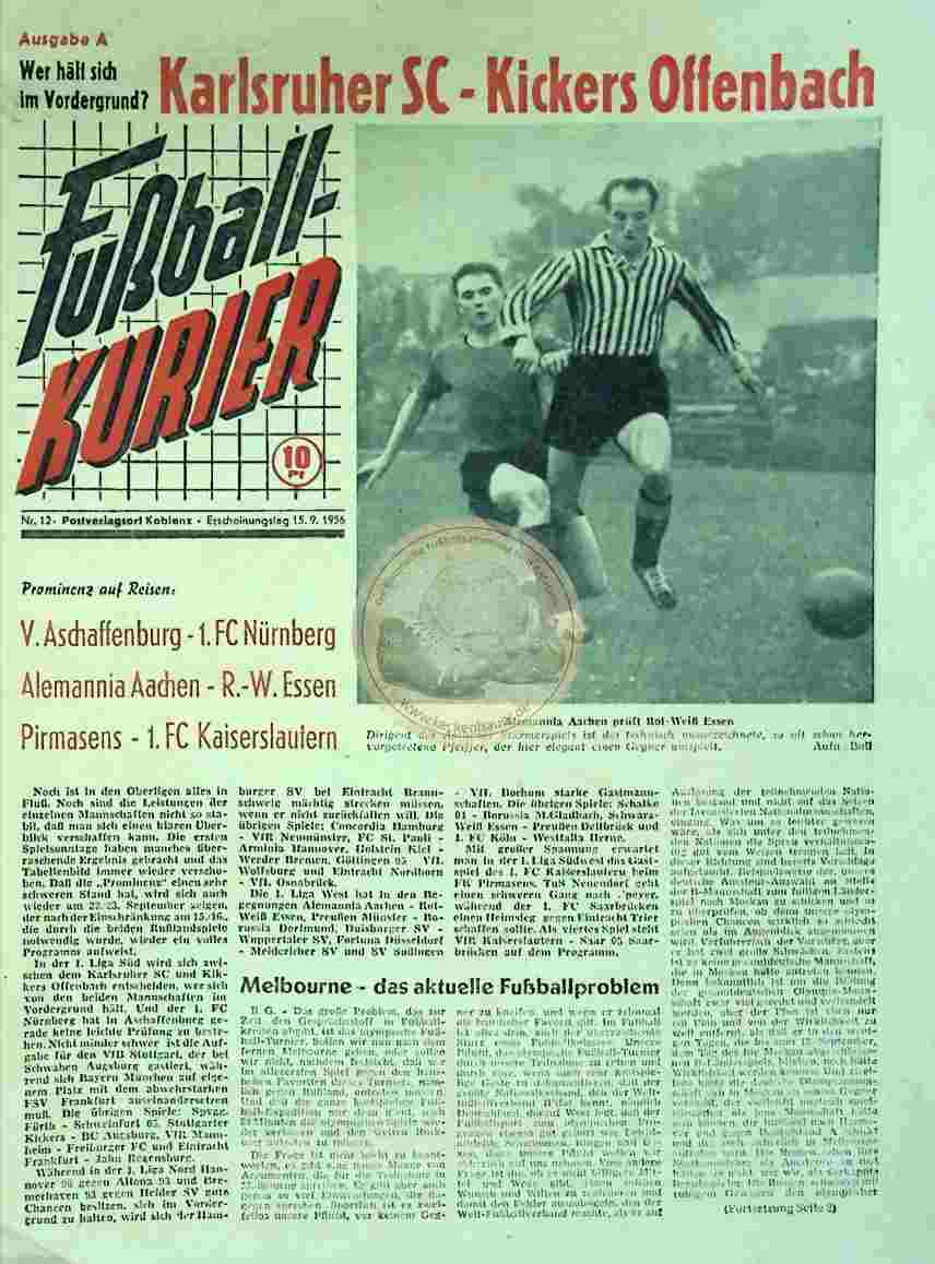 1956 September 15. Fußballkurier Nr. 12