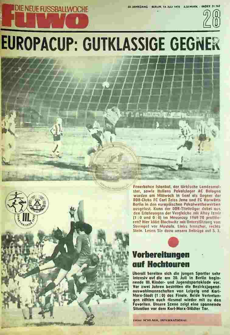 1970 Juli 14. Die neue Fussballwoche fuwo Nr. 28