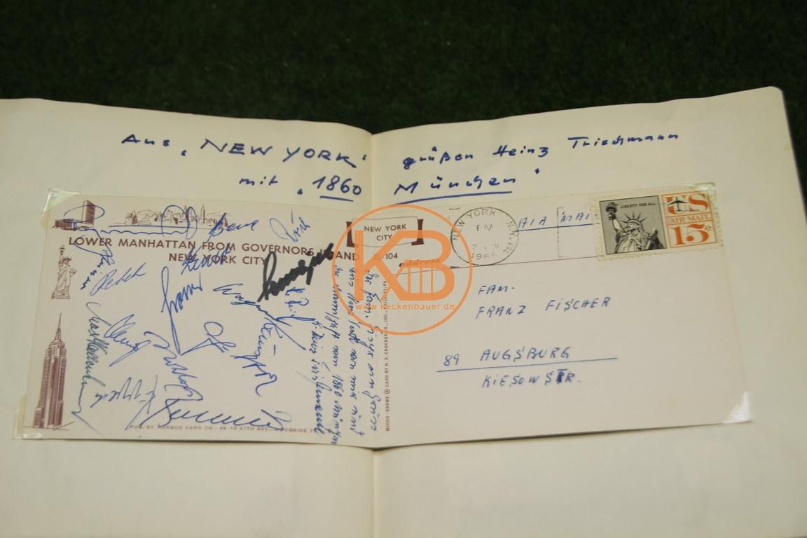 Postkarte mit den original Autogrammen von 1860 München von der New York Reise aus dem Jahr 1965 1/2