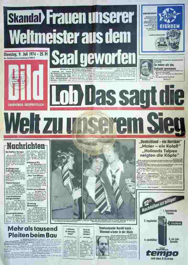 1974 Juli 9. Bildzeitung Seite 3+4 fehlt