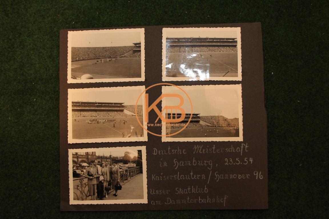 4 Fotos von der Deutschen Fußball Meisterschaft 1954 in Hamburg 1.FC Kaiserslautern gegen Hannover 96