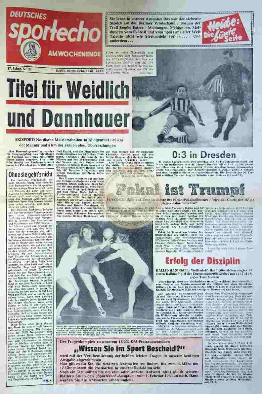 1963 Februar 22./23. Sportecho am Wochenende Nr. 34