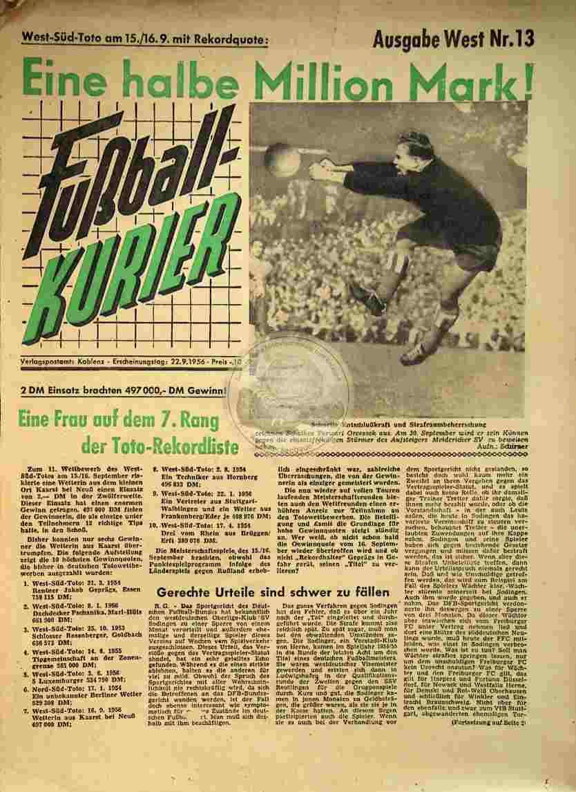 1956 September 22. Fußball-Kurier Nr.13